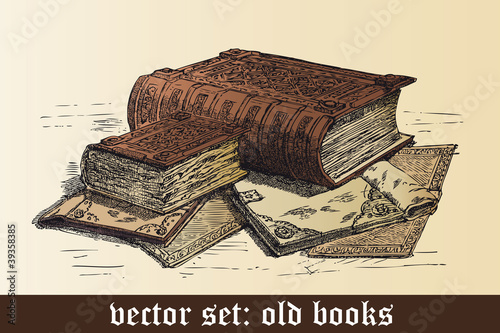 vector set: old books