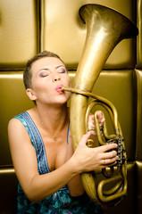 The girl with a tuba
