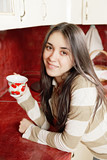 Cute  woman with cup