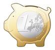Euro coin piggy bank vector icon