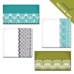 Vector set of cards with lace