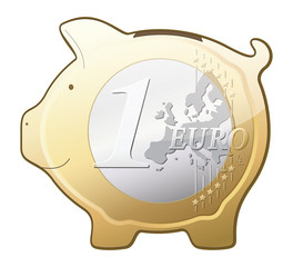 Euro coin piggy bank vector icon