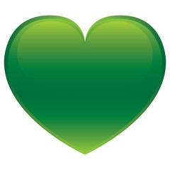 Green glossy vector heart isolated on white