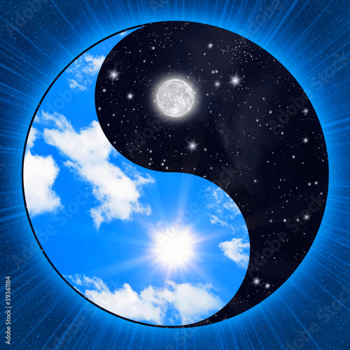 Yin yang symbol wigh sky (clouds and stars)