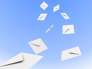 flow of white mail envelopes in the blue sky