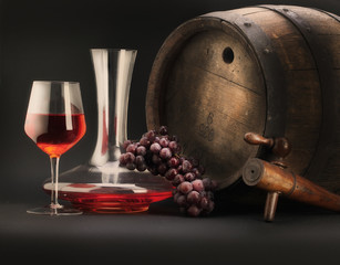 still life with decanter and barrel