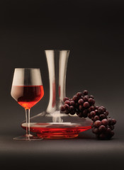 still life with decanter and glass red wine