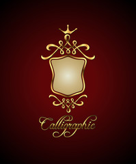 Calligraphic and decor element. Golden shield