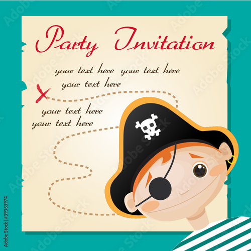 Pirate party invitation, vector illustration