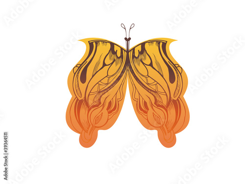 abstract graphic design is a butterfly orange