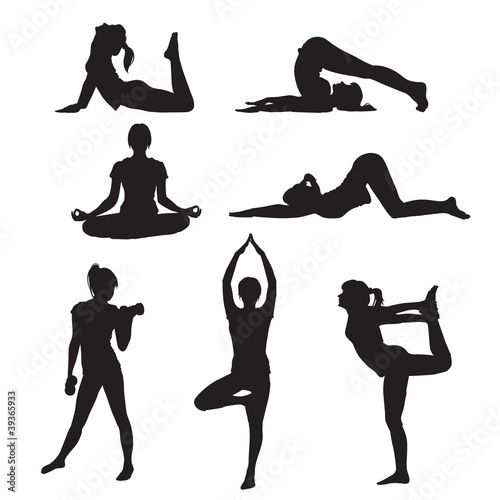 Girl yoga silhouette