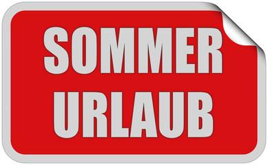 Sticker rot eckig curl oben SOMMER URLAUB