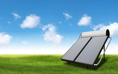 Solar heater at the meadow