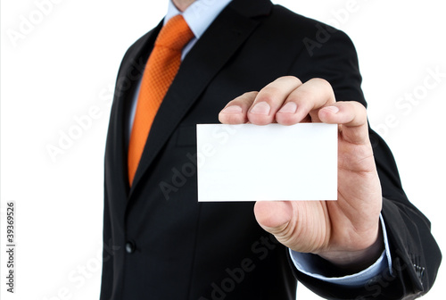 Businessman showing blank business card isolated on white