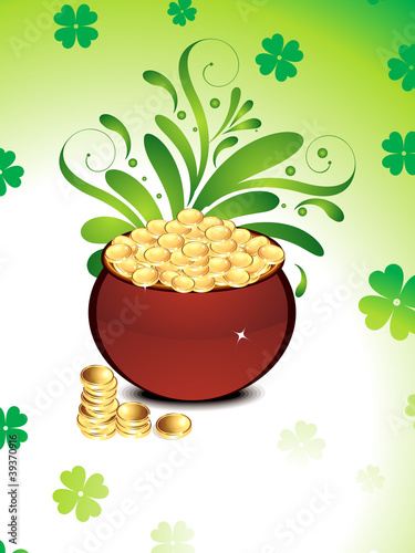 abstract st patrick's background with coin