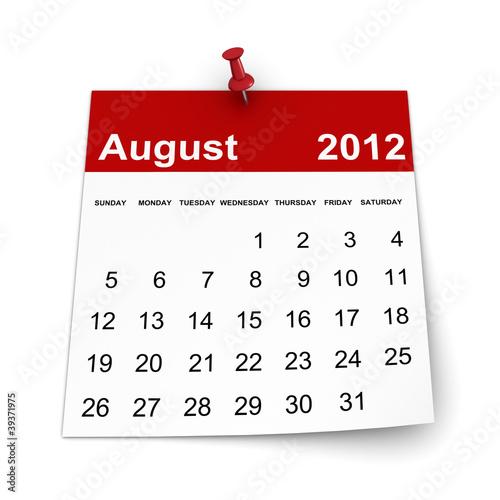 Calendar 2012 - August