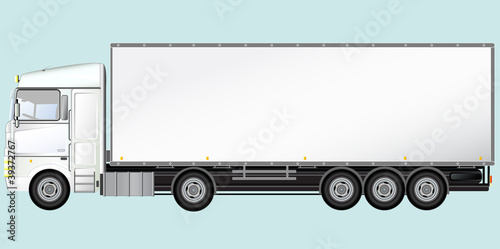 White Isolated modern truck on blue background