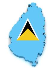 3D Map of Saint Lucia