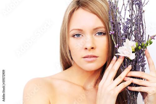 Beautiful woman with natural makeup - cute face