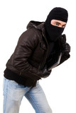 Thief holding a laptop, isolated over white background