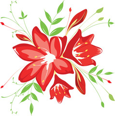 bouquet  flowers and greenery, vector illustration