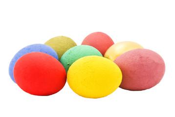 some multicolored eggs