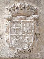 escudo en piedra de la ciudad de palencia,españa