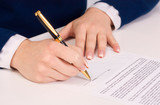 businesswoman sitting with documents sign up contract