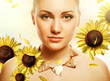 attractive beautiful woman with accessorize and helianthus