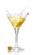 Olive splashing on martini glass isolated on white
