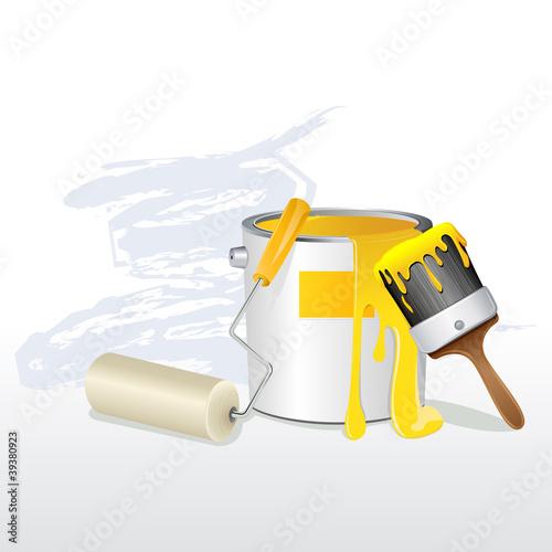 Paint Bucket and Brush