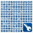 152 Buttons, blau, flach, grosse Symbole