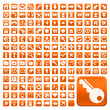 152 Buttons, orange, flach, grosse Symbole