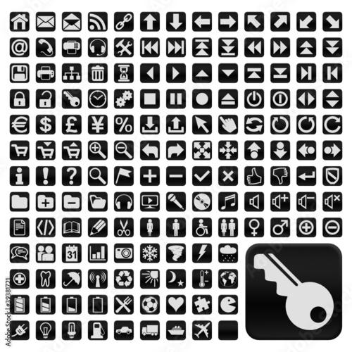 152 Buttons, schwarz, flach, grosse Symbole