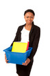 Sweet helpful office girl carrying files in plastic box