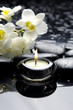 aromatherapy candle and zen stones with branch white orchid