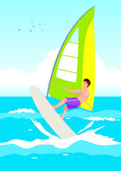 Vector illustration of a wind surfer
