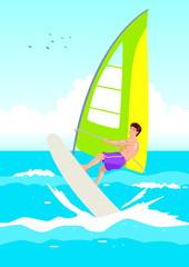 Vector illustration of a wind surfer