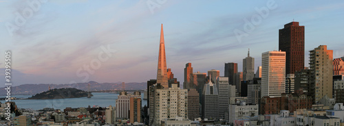 Foto op Aluminium San Francisco Downtown San Francisco and Bay Bridge