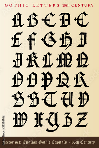 vector set: gothic letters - 16th century