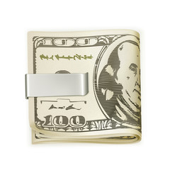 Cash folded in a money clip