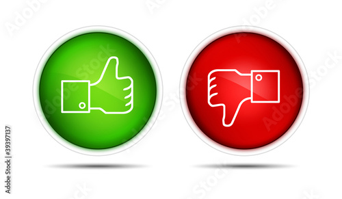 Thumb Up And Thumb Down Buttons Isolated