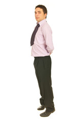Business man standing on toes
