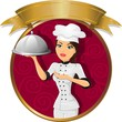 Brunette woman chef banner