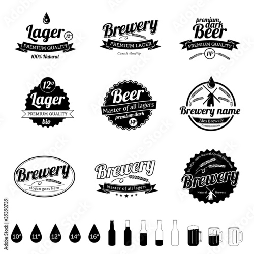 Collection of Beer / Brewery Labels - vintage design