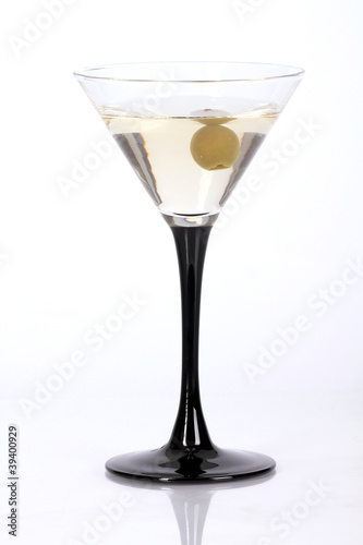 Dry Martini cocktail isolated on white background