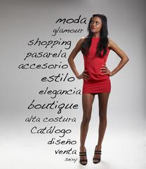 palabras relacionadas con la moda y chica con vestido rojo