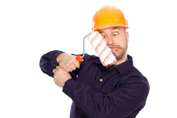 funny portrait of a builder on a white background
