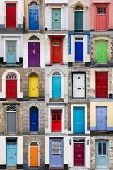 Vertical photo collage of 25 front doors