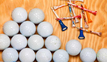 Dirty golf balls and tees
